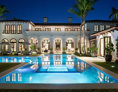 Contemporary Design Mansion Exterior at Night