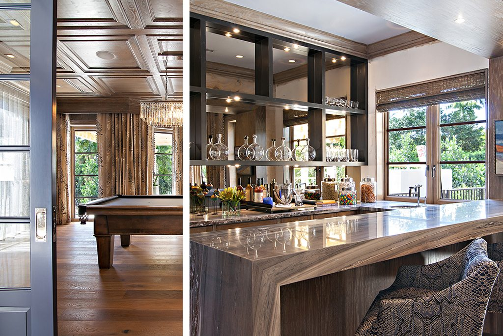 Transitional Design Club Room and Home Bar