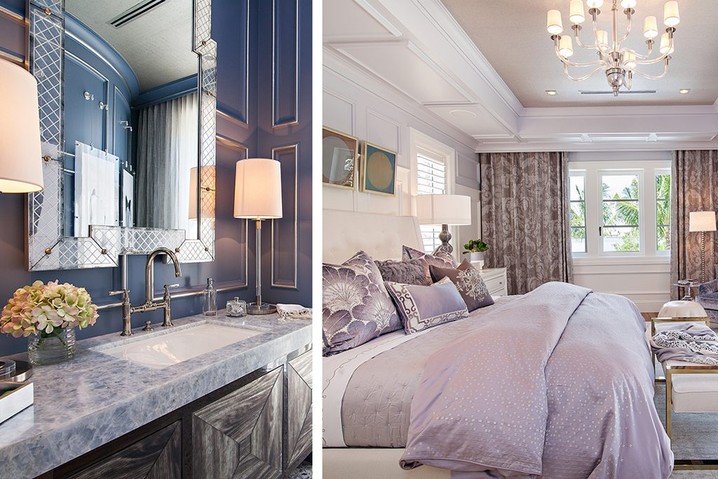 Transitional Design Power Bathroom Blue Wall Panels and Transitional Bedroom Design