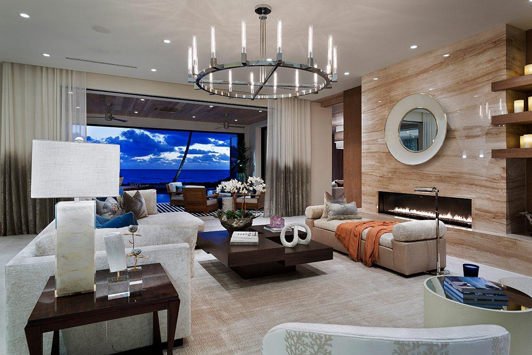 Marc-Michaels Ultra Modern Design Oceanfront Hillsboro Mile Estate Living Room