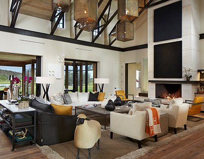 Contemporary Design Ranch Pine Creek Sporting Club Great Room