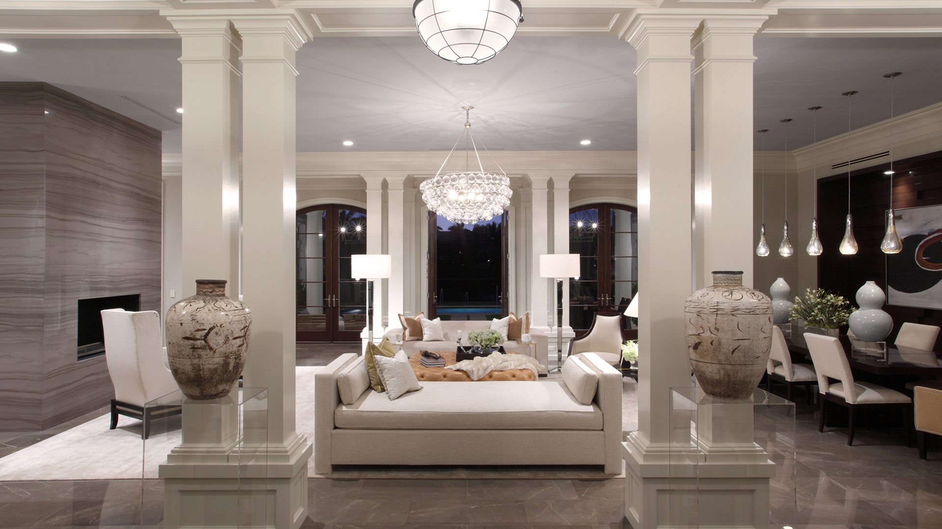 Marc-Michaels Sophisticated Transitional Design Feature Living Space