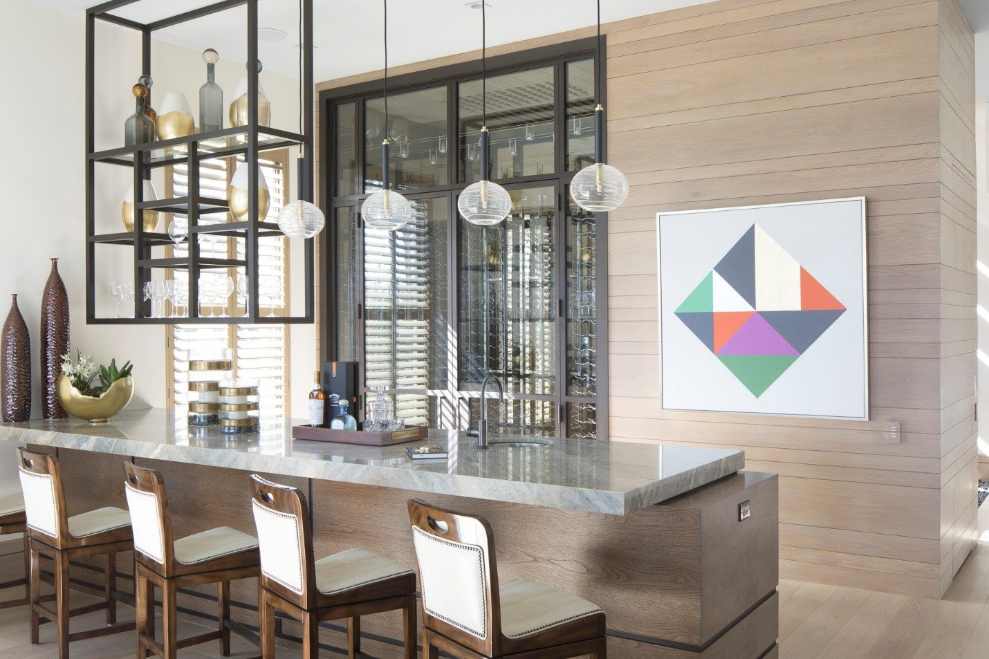 Neutral Interior Design kitchen space with a perfect pop of bright color
