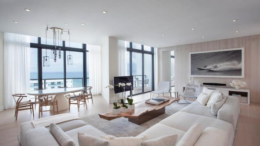 W South Beach neutral colored Luxury Penthouse interior design