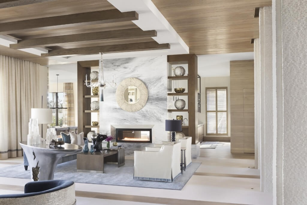 luxury white living room with wood accents