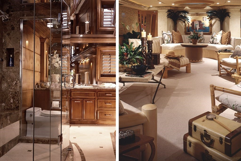 luxury yacht interior bathroom and sitting room