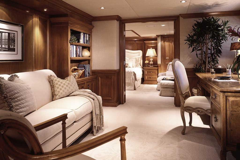Luxury Yacht Interior Design Wood Paneled Living And Sleeping Quarters