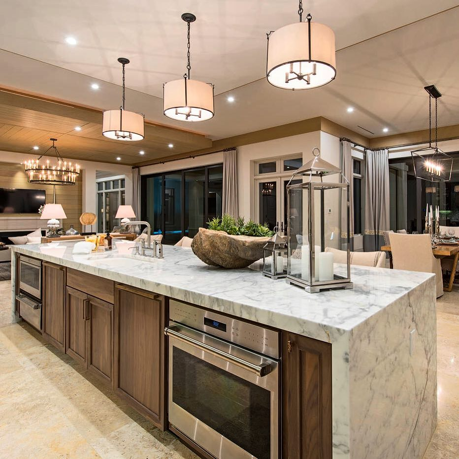kitchen marble waterfall island