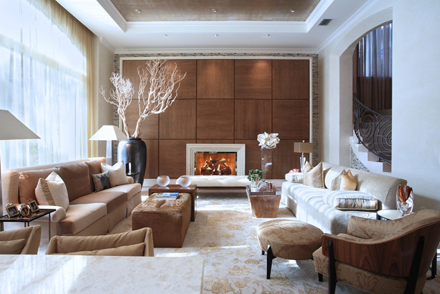 Traditionally designed living room with a fireplace.