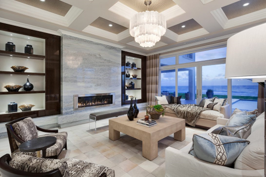 European-inspired contemporary design living room with a fireplace.