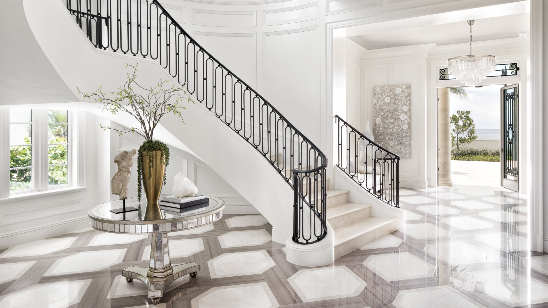 A beautiful entry way of a recently designed Marc-Michaels home