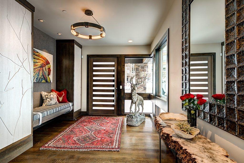 Rustic Modern Lodge's luxurious grand foyer