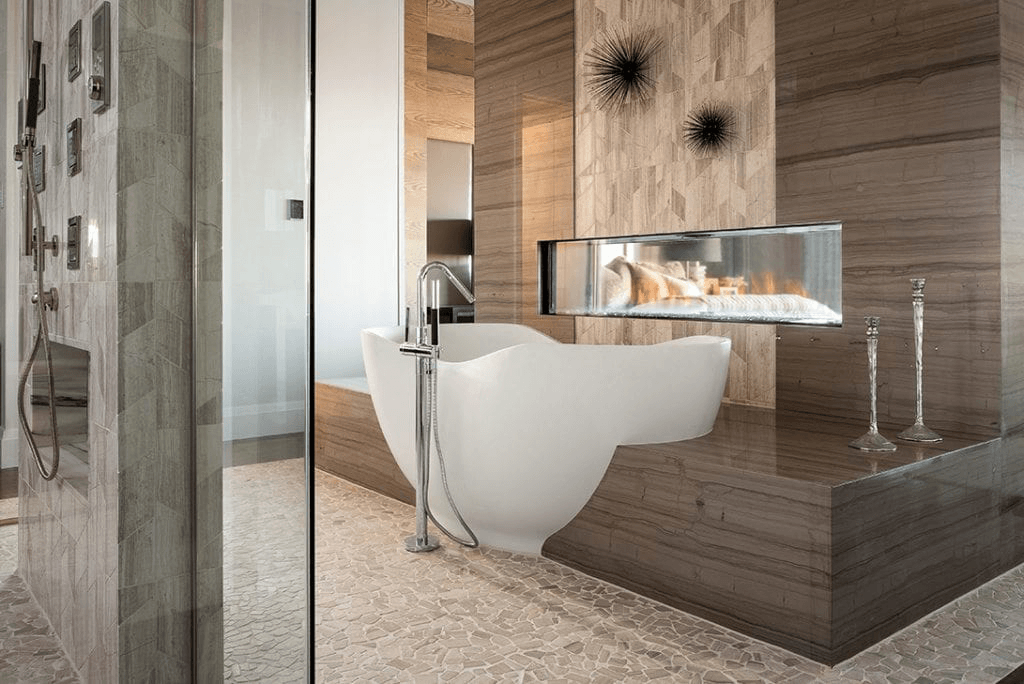 Our New American Home project's luxury bathroom exemplifying modern minimalist design.