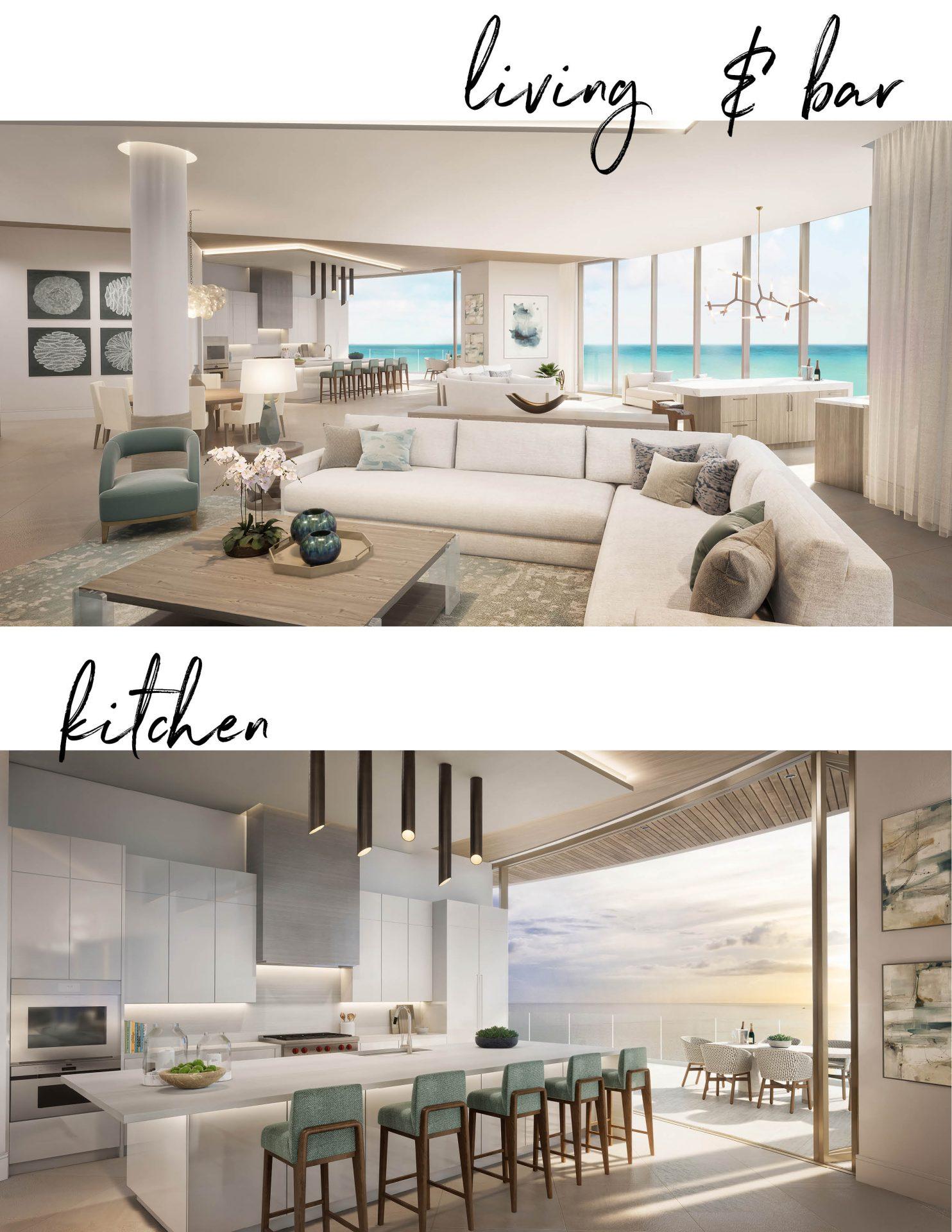 Living room bar kitchen