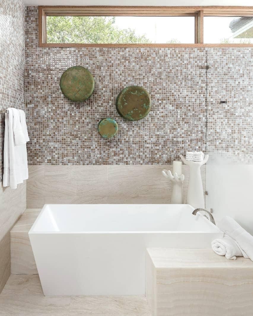 Luxury bathroom with mosaic tiles.